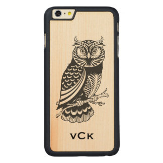 Black Owl Line Drawing Carved Maple iPhone 6 Plus Case