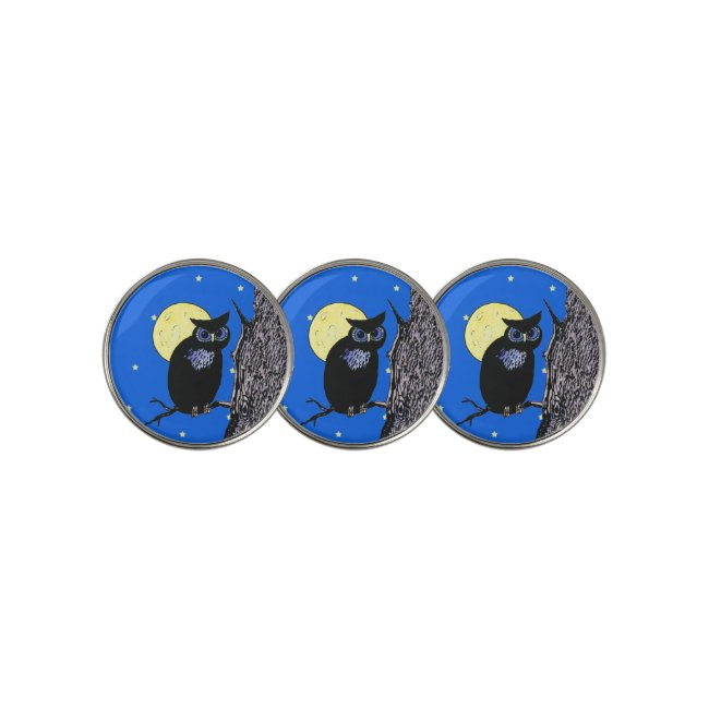 Black Owl on Branch Tree Moon Stars Blue Sky