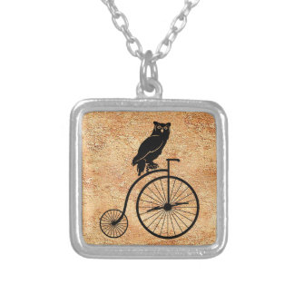 Black Owl on Vintage Bike Silver Plated Necklace