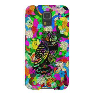 Black Owl Over Colorful Floral Collage Galaxy S5 Case