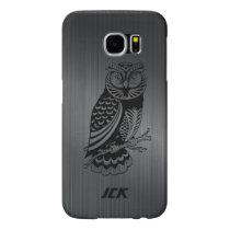 Black Owl Over Metallic Brushed Aluminum-Monogram Samsung Galaxy S6 Case