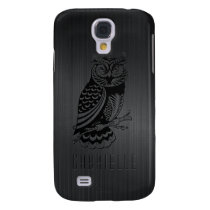 Black Owl Over Metallic Brushed Aluminum-Monogram Samsung S4 Case