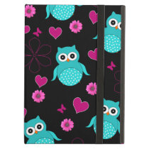 Black owl pattern pink flowers hearts iPad air cases