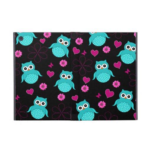 Black owl pattern pink flowers hearts iPad mini case