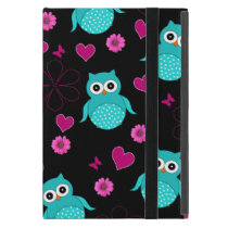 Black owl pattern pink flowers hearts iPad mini cases