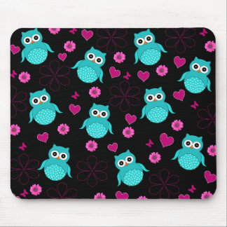 Black Owl pattern pink hearts flowers Mouse Pad