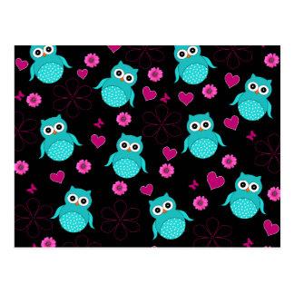 Black Owl pattern pink hearts flowers Postcard