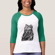 Black Owl Printed 3/4 Sleeve Baseball Shirt