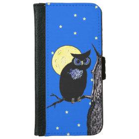 Black Owl Tree Moon Stars iPhone 6 Wallet Case