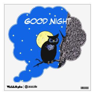 Black Owl Tree Moon Stars Wall Sticker