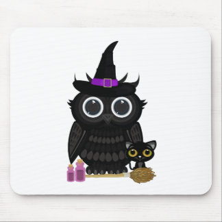 Black Owl Witch Mouse Pad