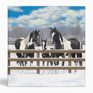Black Paint Horses In Snow Binder