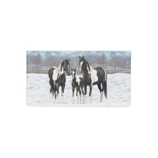 Black Paint Horses In Snow Checkbook Cover