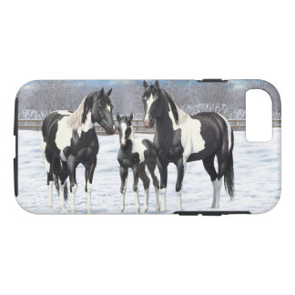 Black Paint Horses In Snow iPhone 8/7 Case