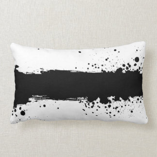 Black Paint Splatter B&W Throw Pillow