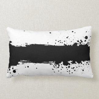 Black Paint Splatter B&W Throw Pillow