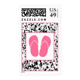 Black Paint Splatter & Pink Flip Flops Postage