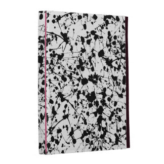 Black Paint Splatter & Pink iPad Folio iPad Folio Cases