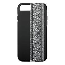Black Paisley Bandana iPhone 7 case