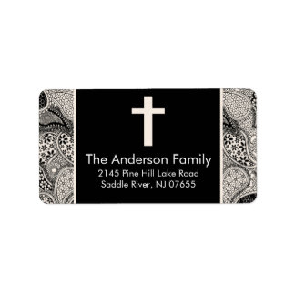 Black Paisley Cross Religious address Label