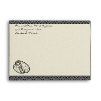 Black Paisley DamaskWedding Envelopes