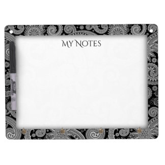 Black Paisley Dry Erase Board With Keychain Holder