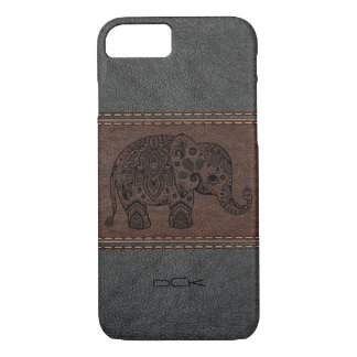 Black Paisley Elephant Over Vintage Leather iPhone 7 Case