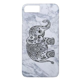 Black Paisley Elephant With White Marble iPhone 7 Plus Case