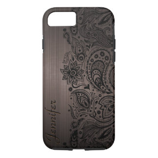 Black Paisley Lace Brown Background iPhone 7 Case