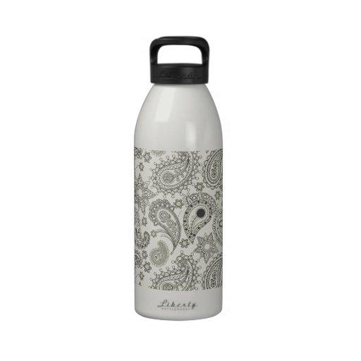 Black Paisley on White Reusable Water Bottles
