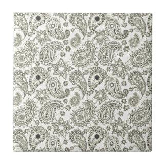 Black Paisley on White Tile