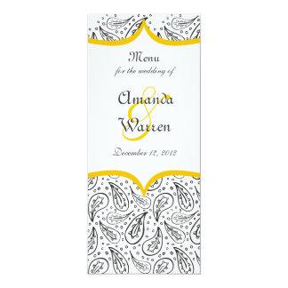 black paisley pattern & yellow label on white menu card