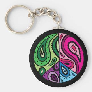 Black Paisley Peace Keychain