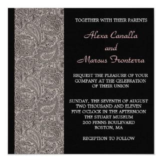 "Black Paisley Wedding Invitation 5.25"" Square Invitation Card"