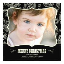 Black Paisley Western Christmas Cards