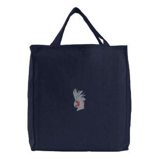 Black Palm Cockatoo Embroidered Tote Bag