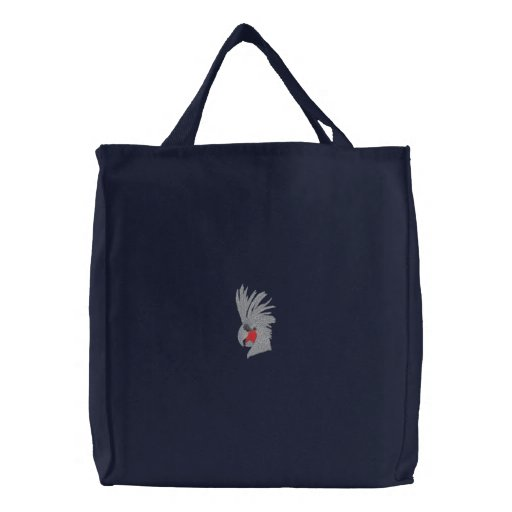 Black Palm Cockatoo Embroidered Tote Bag