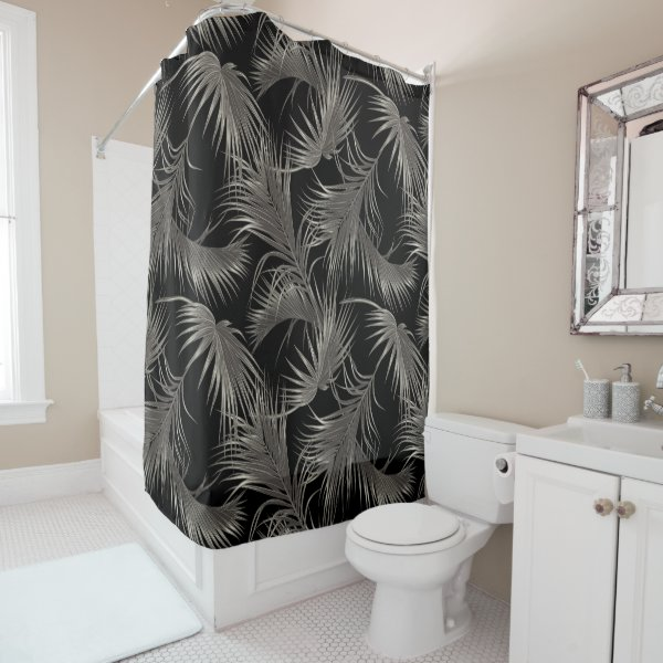 Black Palm Luxe Look Tropical Pattern Shower Curtain