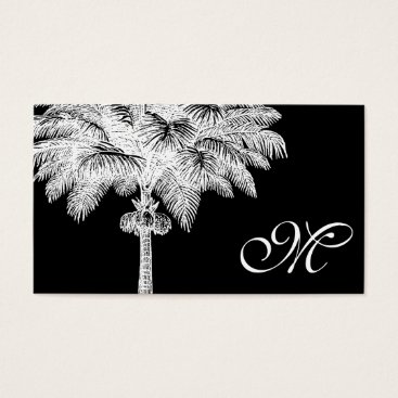 Professional Business Black Palm Tree Monogrammed Business Cards