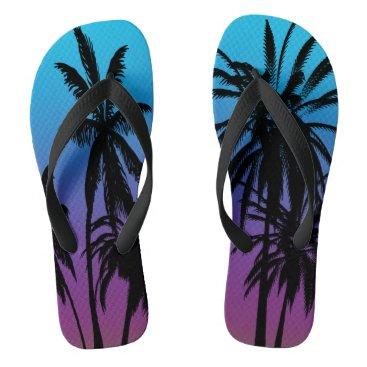 Beach Themed Black Palm Trees Purple Blue Fade Tahiti Retro Flip Flops