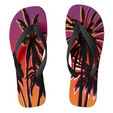 Beach Themed Black Palm Trees Purple Orange Fade Tahiti Retro Flip Flops