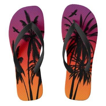 Beach Themed Black Palm Trees Purple Orange Tahiti Sunset Retro Flip Flops