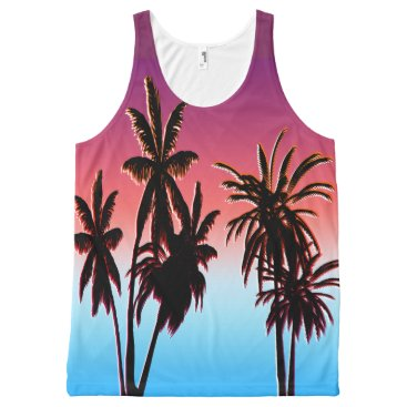 Beach Themed Black Palm Trees Purple Tahitian Haze Sunset Beach All-Over-Print Tank Top