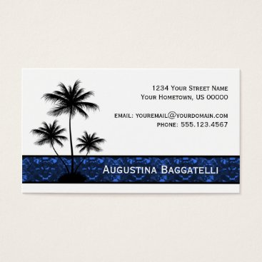 Professional Business Black Palm Trees Silhouette With Blue Business Card