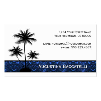 Black Palm Trees Silhouette With Blue Double-Sided Standard Business Cards (Pack Of 100)