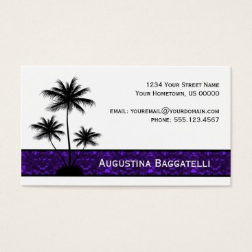 Professional Business Black Palm Trees Silhouette With Purple Business Card