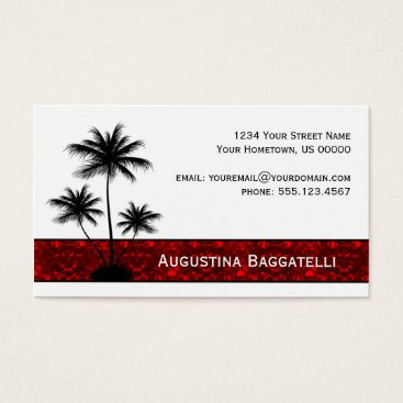 Professional Business Black Palm Trees Silhouette With Red Business Card