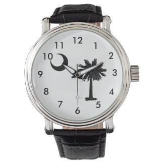 Black Palmetto Tree Vintage Leather Strap Watch