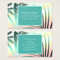 Black palms at sunset business card