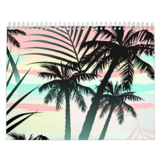 Black palms at sunset calendar